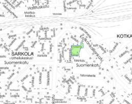 Suunnittelukohde Kakikuja-Kimalaisentie kartalla
