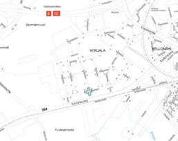 Suunnittelukohde Korjalankatu-Kaupinkatu kartalla