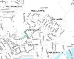 Suunnittelukohde Puistomaankuja-Kansantie kartalla