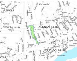 Suunnittelukohde Sepäntie-Lassilanpellontie kartalla