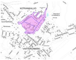 Investointikohteet Vahteron alue kartalla